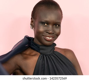 New York, NY - June 3, 2019: Alek Wek wearing dress by Rosie Assoulin and Rosie Assoulin attend 2019 CFDA Fashion Awards at Brooklyn Museum