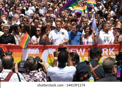 NEW YORK, NY - JUNE 30: NY Gavernor Andrew Cuomo (NY-D) with his daughters Michaela Cuomo, Mariah Cuomo and Cara Cuomo attend the WorldPride NYC 2019 Pride March on June 30, 2019 in New York City.