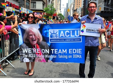 New York, NY - June 30, 2013:  Marchers from ACLU holding banner with Edie Windsor's face at the Gay Pride parade on Fifth Avenue  *