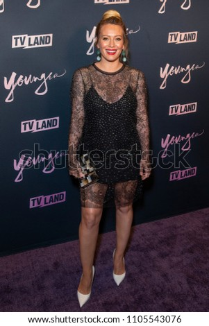 New York, NY - June 4, 2018: Hilary Duff wearing dress by Chloe attends Younger Season 5 Premiere Party at Cecconi Dumbo