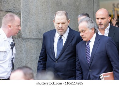 New York, NY - June 5, 2018: Harvey Weinstein & attorney Benjamin Brafman leave court after not guilty plea during arraigement on rape and criminal sex act charges at State Supreme Court