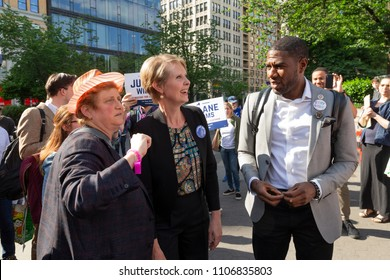 New York, NY - June 5, 2018: Christine Marinoni, Cynthia Nixon, Jumaane Willims attend rally to get names on Democratic Party primary ballot at Union Square