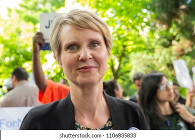 New York, NY - June 5, 2018: Cynthia Nixon candidate for New York Governor attends rally to get names on Democratic Party primary ballot at Union Square