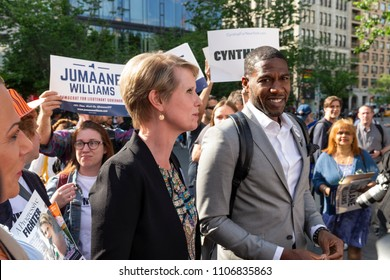 New York, NY - June 5, 2018: Cynthia Nixon candidate for New York Governor, Jumaane Willims candidate for Lieutenant Governor attend rally get names on Democratic Party primary ballot at Union Square