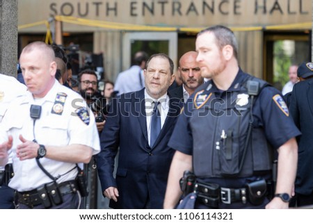 New York, NY - June 5, 2018: Harvey Weinstein leaves court after not guilty plea during arraigement on rape and criminal sex act charges at State Supreme Court