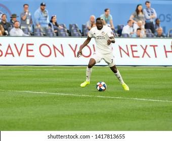 New York, NY - June 6, 2019: Roland Lamah (7) of FC Cincinnati controls ball during regular MLS game against NYCFC at Yankee stadium NYCFC won 5 - 2