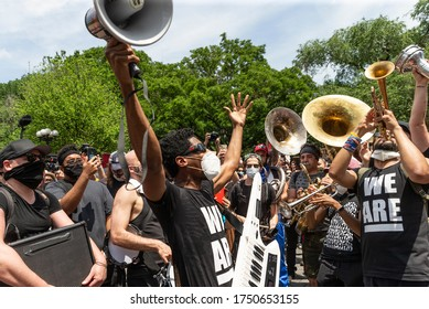 New York, NY - June 6, 2020: Jon Batiste and his band perform during protest for Black Lives Matter on Union Square