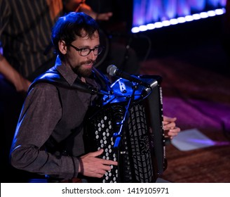 New York, NY - June 7, 2019: Mattia Schirosa of Barcelona Gipsy balKan Orchestra in debut concert in USA produced by Pure Live Music and World Music Institute performs at Cutting Room