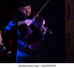 New York, NY - June 7, 2019: Oleksandr Sora of Barcelona Gipsy balKan Orchestra in debut concert in USA produced by Pure Live Music and World Music Institute performs at Cutting Room