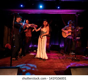 New York, NY - June 7, 2019: Barcelona Gipsy balKan Orchestra in debut concert in USA produced by Pure Live Music and World Music Institute performs at Cutting Room