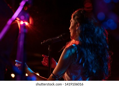 New York, NY - June 7, 2019: Sandra Sangiao of Barcelona Gipsy balKan Orchestra in debut concert in USA produced by Pure Live Music and World Music Institute performs at Cutting Room