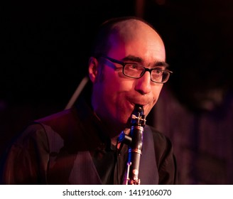 New York, NY - June 7, 2019: Daniel Carbonel of Barcelona Gipsy balKan Orchestra in debut concert in USA produced by Pure Live Music and World Music Institute performs at Cutting Room