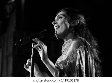 New York, NY - June 7, 2019: Sandra Sangiao of Barcelona Gipsy balKan Orchestra in debut concert in USA produced by Pure Live Music and World Music Institute backstage at Cutting Room