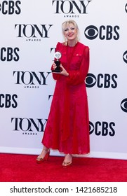 New York, NY - June 9, 2019: Anais Mitchell poses with Tony award at media room of the 73rd annual Tony Awards at Radio City Music Hall