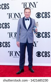 New York, NY - June 9, 2019: Bryan Cranston with Tony award poses in media room at the 73rd annual Tony Awards at Radio City Music Hall