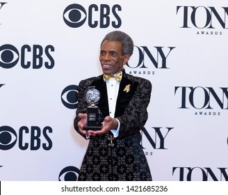 New York, NY - June 9, 2019: Andre de Shields poses with Tony award at media room of the 73rd annual Tony Awards at Radio City Music Hall