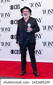 New York, NY - June 9, 2019: Jez Butterworth poses with Tony award at media room of the 73rd annual Tony Awards at Radio City Music Hall