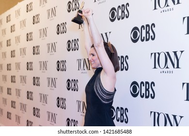New York, NY - June 9, 2019: Stephanie J. Block holding Tony award and posing in media room at the 73rd annual Tony Awards at Radio City Music Hall