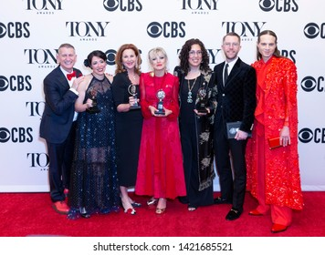 New York, NY - June 9, 2019: Cast and crew of musical Hadestown with Tony award for best musical at the 73rd annual Tony Awards at Radio City Music Hall