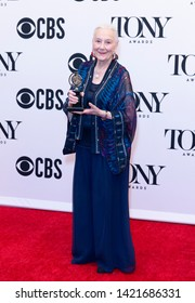 New York, NY - June 9, 2019: Rosemary Harris poses with Tony award at media room of the 73rd annual Tony Awards at Radio City Music Hall
