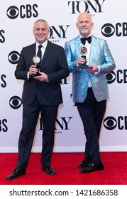 New York, NY - June 9, 2019: David Stone and Ryan Murphy pose with Tony awards at media room of the 73rd annual Tony Awards at Radio City Music Hall
