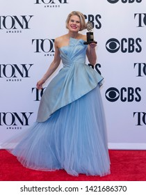 New York, NY - June 9, 2019: Celia Keenan-Bolger poses with Tony award at media room of the 73rd annual Tony Awards at Radio City Music Hall