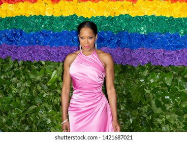 New York, NY - June 9, 2019: Regina King wearing dress by Prada attends the 73rd annual Tony Awards at Radio City Music Hall
