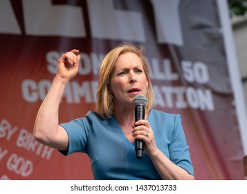 New York, NY - June28, 2019: US Senator Kirsten Gillibrand speaks during Stonewall 50th Commemoration rally at WorldPride NYC 2019 on Christopher Street