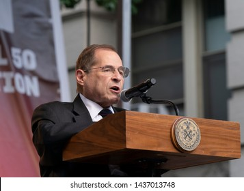 New York, NY - June28, 2019: US Representative Congressman Jerry Nadler speaks during Stonewall 50th Commemoration rally at WorldPride NYC 2019 on Christopher Street