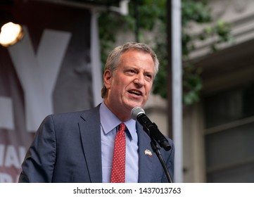 New York, NY - June28, 2019: New York City mayor Bill de Blasio speaks during Stonewall 50th Commemoration rally at WorldPride NYC 2019 on Christopher Street