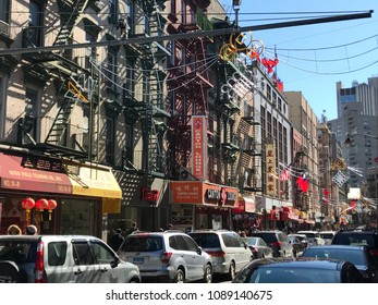 NEW YORK, NY - MAR 18: View of Chinatown district in Manhattan, New York, as seen on Mar 18, 2018. It is home to the largest enclave of Chinese people in the Western Hemisphere. *