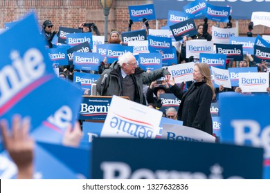 New York NY - Mar 2 2019: Democratic Presidential candidate US Senator Bernie Sanders launches 1st presidential campaign rally with more than 10000 in attendance with Jane Sanders at Brooklyn College