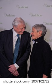 NEW YORK, NY - MARCH 1: Sir David Attenborough and Margaret Walker attend the National Audubon Society Annual Gala at The Rainbow Room at 30 Rockefeller Plaza on March 1, 2018 in New York City.
