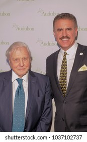 NEW YORK, NY - MARCH 1: Sir David Attenborough and Ron Magill attend the National Audubon Society Annual Gala at The Rainbow Room at 30 Rockefeller Plaza on March 1, 2018 in New York City.
