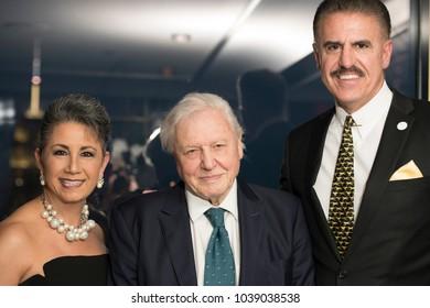 New York, NY - March 1, 2018: Rita Magill, Sir David Attenborough, Ron Magill attend National Audubon Society Annual Gala at Rainbow Room