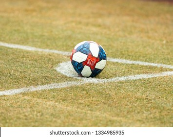 New York, NY - March 10, 2019: Official MLS football on pitch for MLS regular game between NYCFC and DC United at Yankee stadium game ended in goalless draw