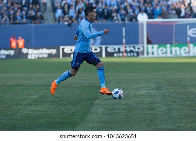 New York, NY - March 11, 2018: Jesus Medina (19) of NYC FC controls ball during regular MLS game against LA Galaxy at Yankee stadium NYC FC won 2 - 1