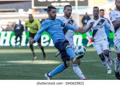 New York, NY - March 11, 2018: David Villa (7) of NYC FC controls ball during regular MLS game against LA Galaxy at Yankee stadium NYC FC won 2 - 1