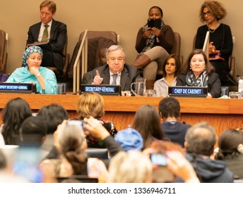 New York, NY - March 12, 2019: Townhall meeting with Secretary-General Antonio Guterres and Civil Society on margins of CSW63 at United Nations Headquarters
