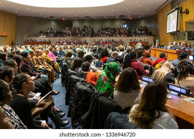 New York, NY - March 12, 2019: Atmosphere at townhall meeting with Secretary-General Antonio Guterres and Civil Society on margins of CSW63 at United Nations Headquarters