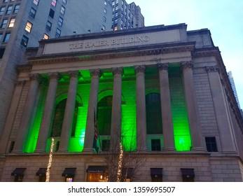 New York, NY - March 13 2019: Gotham Hall illuminated in green for St. Patrick's Day