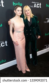 New York, NY - March 14, 2019: Joey King wearing dress by Markarian & Patricia Arquette wearing suit byBella Freud attend the premiere of Hulu's 'The Act' at The Whitby Hotel