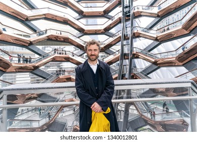 New York, NY - March 15, 2019: Hudson Yards is lagest private development in New York. Architect Thomas Heatherwick poses at The Vessel at Hudson Yards of Manhattan during opening day