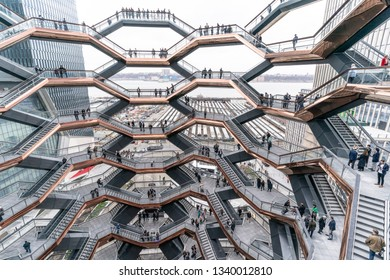 New York, NY - March 15, 2019: Hudson Yards is lagest private development in New York. View of The Vessel consisting of 155 flights of stairs at Hudson Yards of Manhattan during opening day