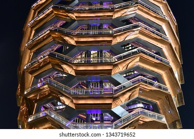"""NEW YORK, NY - MARCH 19, 2019: """"The Vessel"""" Sculpture Structure in Hudson Yards is 16 stories high with 155 stairs. Very Close view."""