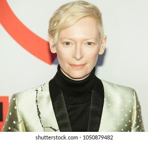 New York, NY - March 20, 2018: Tilda Swinton attends Isle of Dogs New York special screening at Metropolitan museum