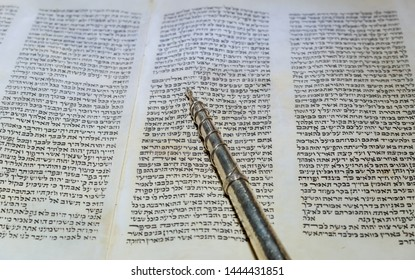 NEW YORK NY March 2019. Hebrew religious Torah parchment old scroll book