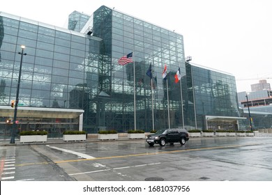 New York, NY - March 23, 2020: Exterior of empty Jacob Javits Convention Center where military sets hospitals to help fight coronavirus cases