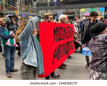 New York. NY - March 24 2019:  In the Times Square area there was a protest against Islamophobia. Many Muslims and protesters went out to shout their voices against terror attacks. anti fascism
