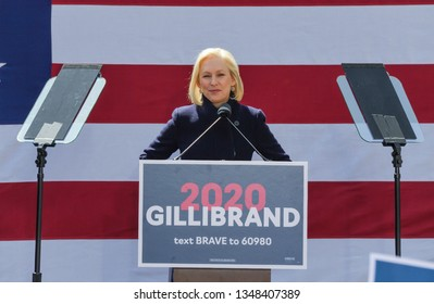 New York, NY - March 24, 2019: Democratic presidential candidate US Senator Kirsten Gillibrand speaks during official kick-off rally of her campaign for US president at Columbus Circle